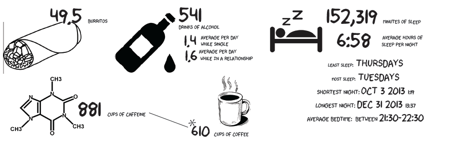 A visual layout describing all the coffee, alcohol, and other metrics about Lillian's life.