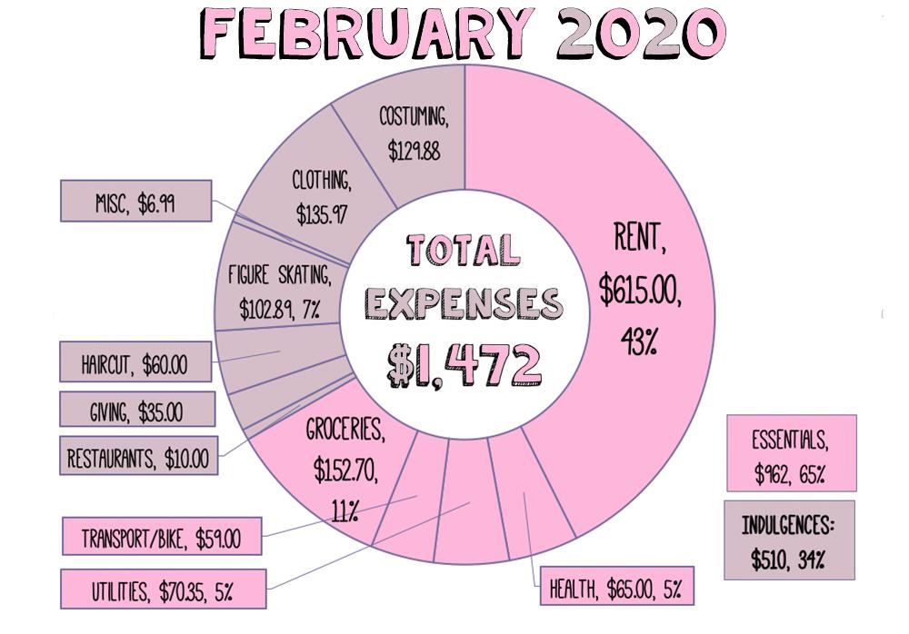 Donut chart of my February 2020 finances