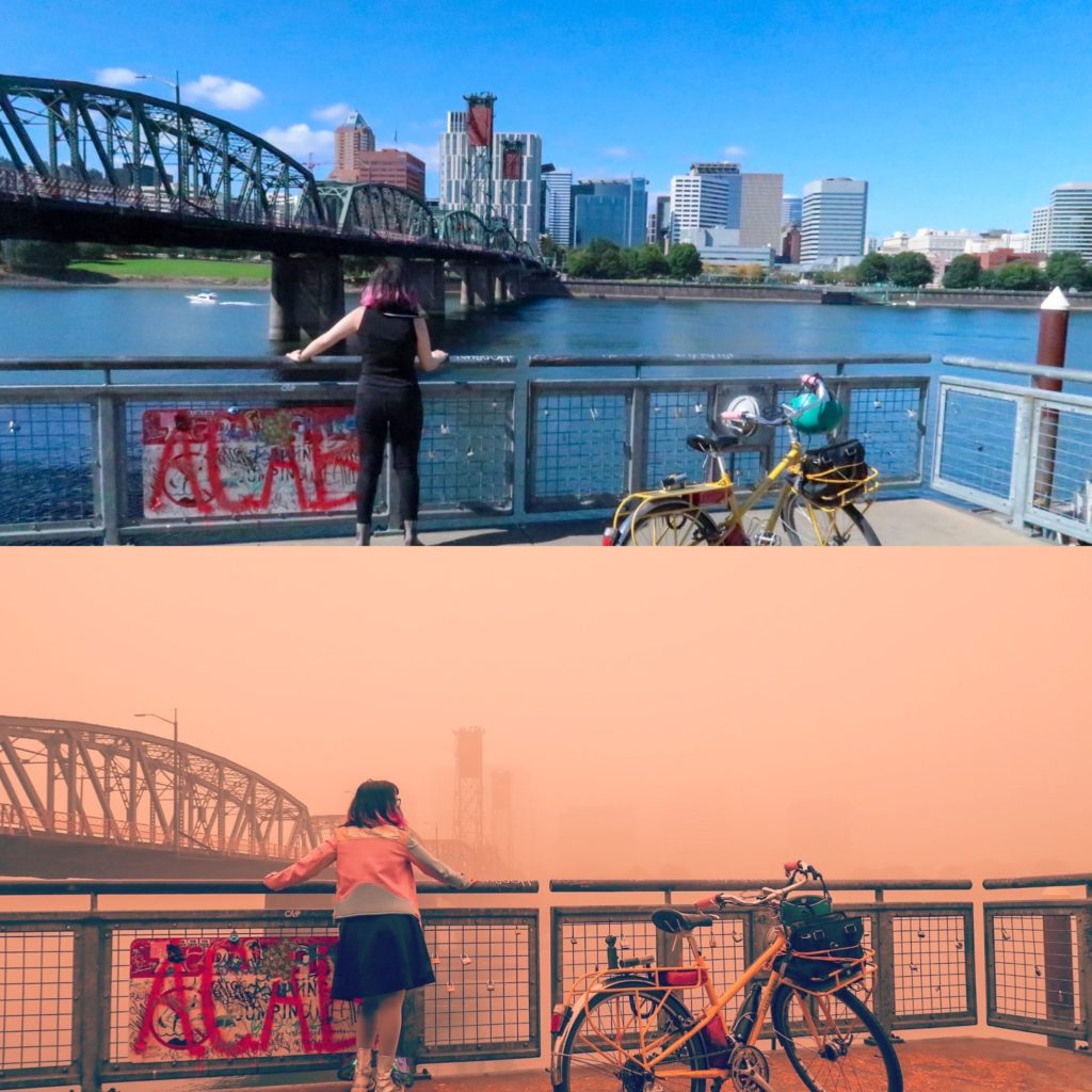 Two pictures: top shows a bridge and blue sky and water with a person standing in front of it, bottom picture shows a pink smoke filled sky in the same location, most of the bridge is not visible due to the smoke and the water is not visible at all.