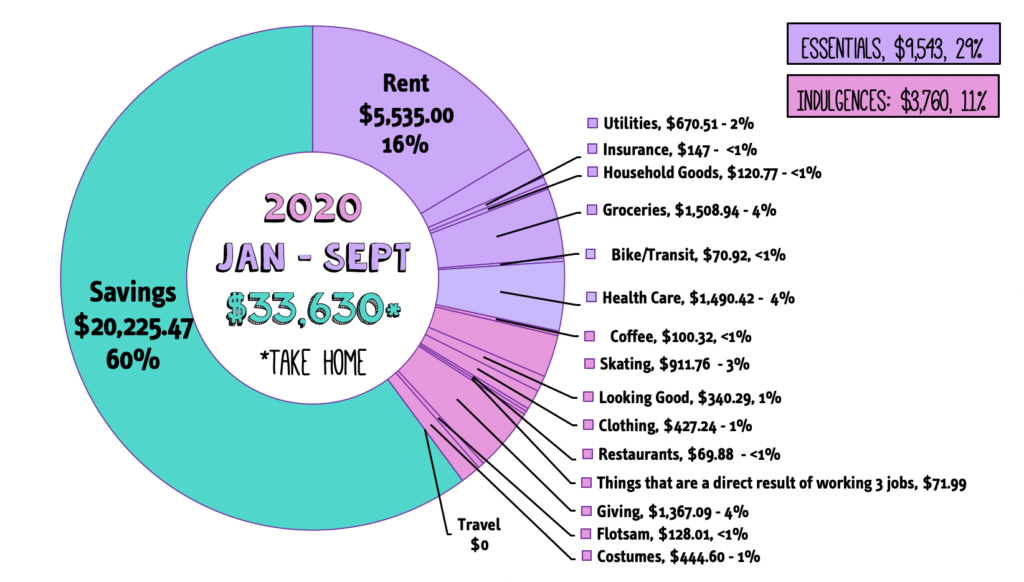 Donut chart showing my savings year to date.