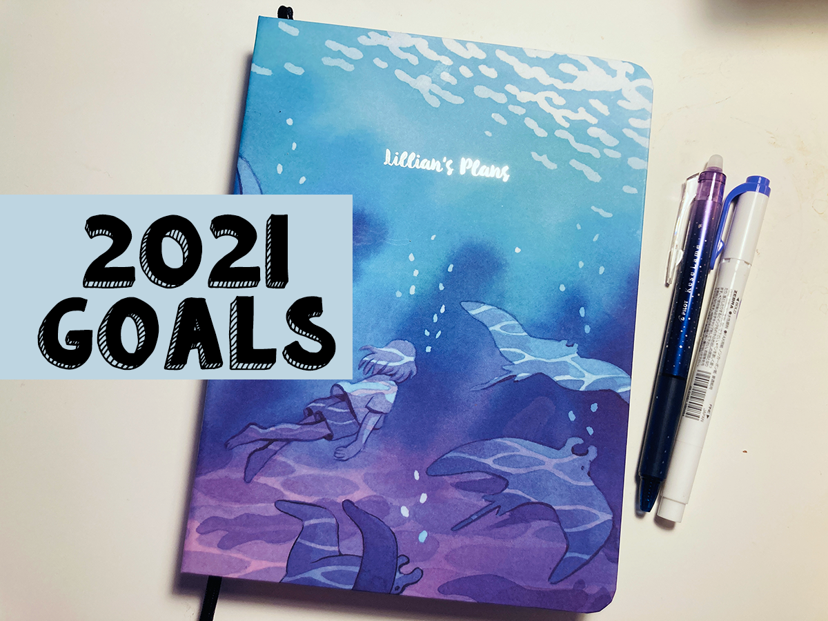"The cover of planner showing the text ""lillian's plans"" with a blue and purple image of a girl swimming. Over top of it says 2021 Goals."