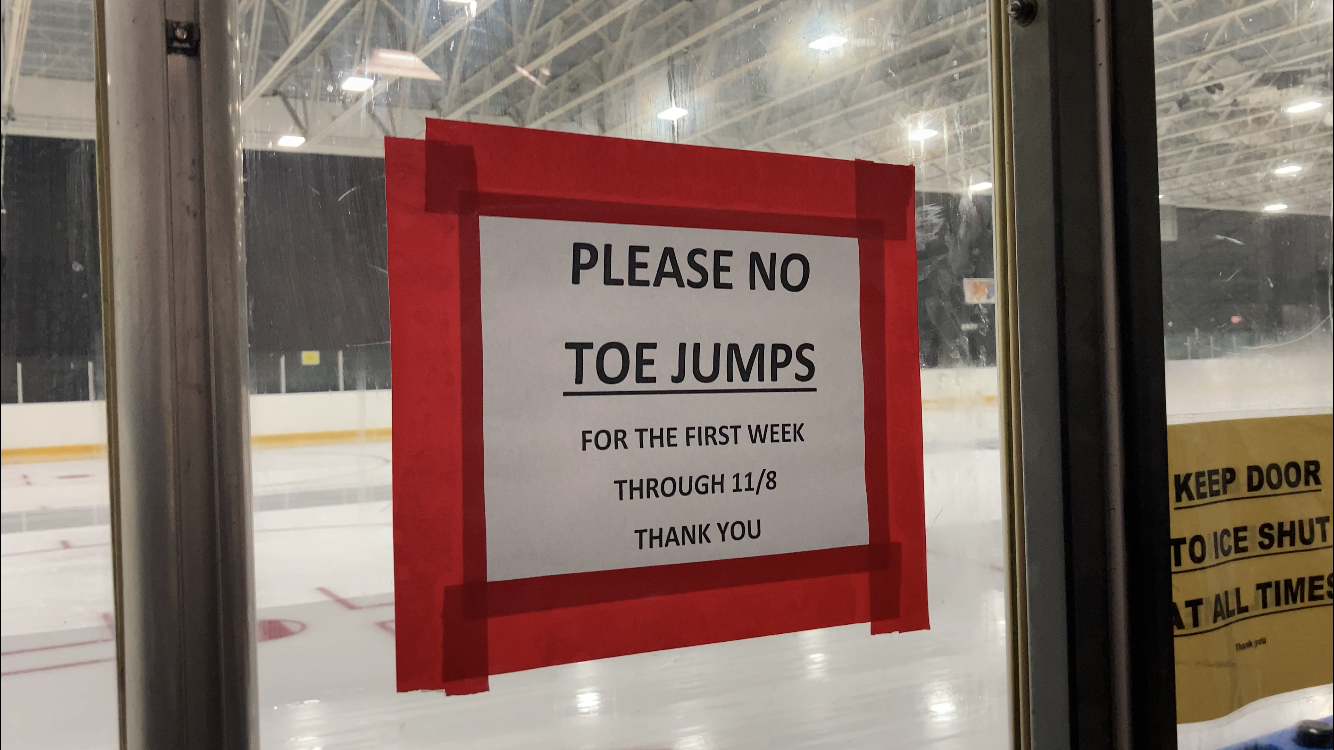 "Sign at an ice rink says ""please no toe jumps"""